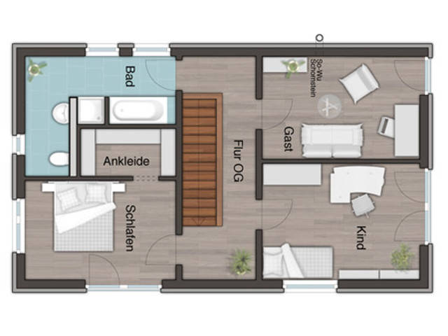 Grundriss OG, Das City 136 von Harr Massivhaus - Town & Country