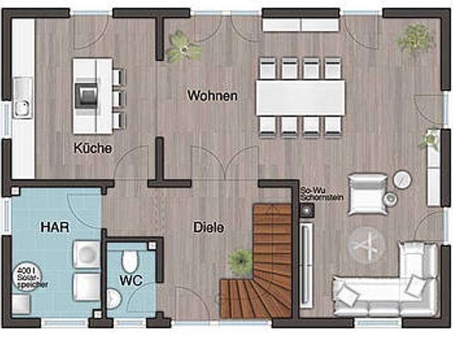 Grundriss EG Landhaus 142 - Modern, Harr Massivhaus - Town & Country