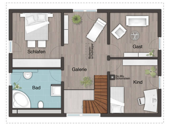 Grundriss OG Landhaus 142 - Modern, Harr Massivhaus - Town & Country
