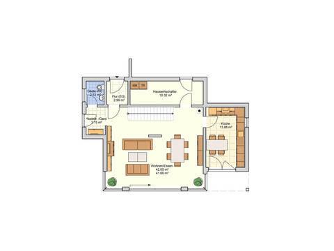 Grundriss EG Haus F133-10 von Fingerhut Haus