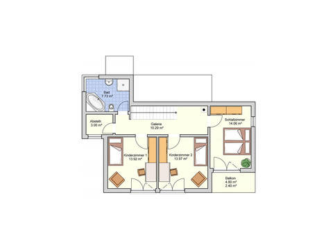 Grundriss OG Haus F133-10 von Fingerhut Haus