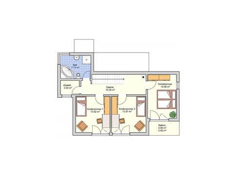Grundriss OG Kubus Haus Patrino von Fingerhut Haus