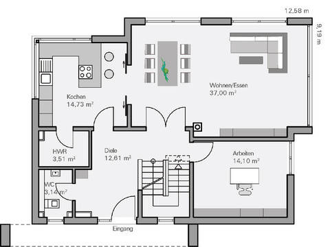 Medium Haus Vettel Grundriss EG - Plan Concept Massivhaus GmbH