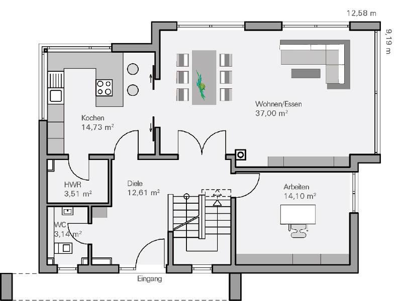 Medium Haus Vettel Grundriss EG   Plan Concept Massivhaus GmbH