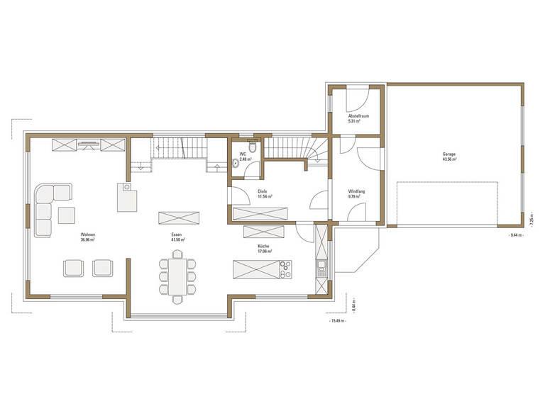 Sonnenenergiehaus Style Grundriss EG Fertighaus Weiss