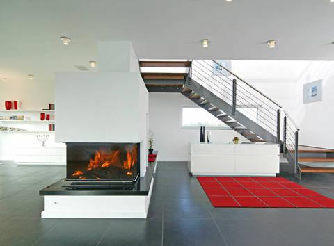 Sonnenenergiehaus Style Wohnzimmer Fertighaus Weiss