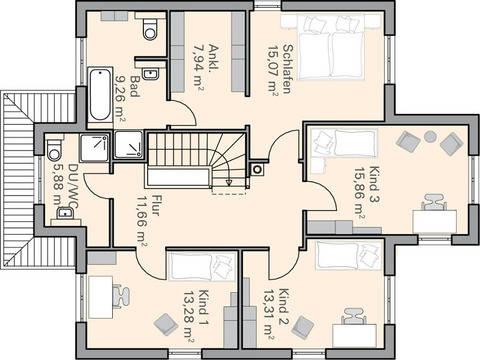 Haus Sander Grundriss OG - Plan-Concept Massivhaus GmbH