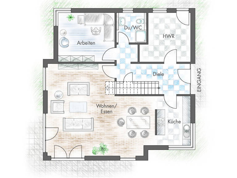 Haus Freiberger Grundriss EG - Plan-Concept Massivhaus GmbH