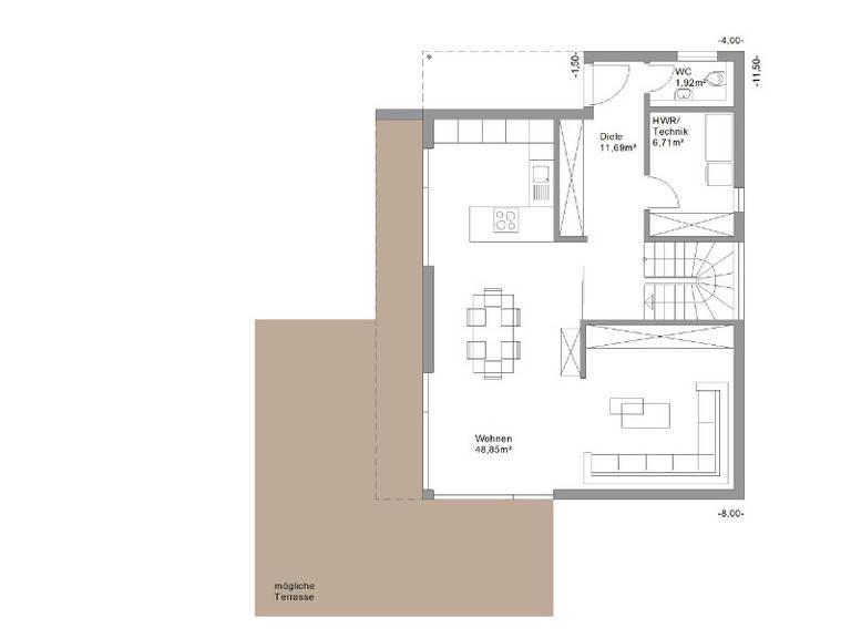 Legno Haus Design 131plus Grundriss EG