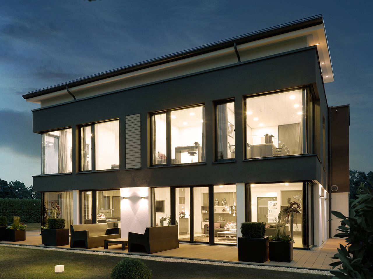 Musterhaus CONCEPT-M 188 Wuppertal, Ansicht Nacht 2