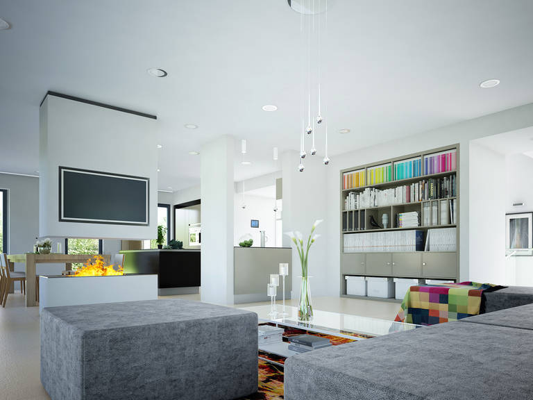 Innenansicht Wohnzimmer Musterhaus CONCEPT-M 188 Wuppertal