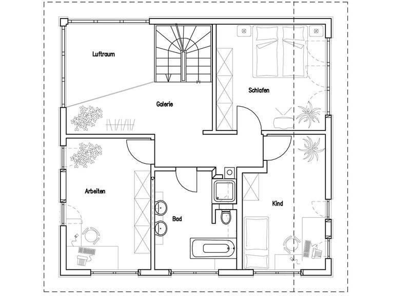 Grundriss Dachgeschoss Haus Lang/ Beck