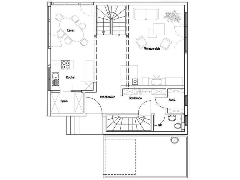 Grundriss Erdgeschoss Haus Lang/ Beck