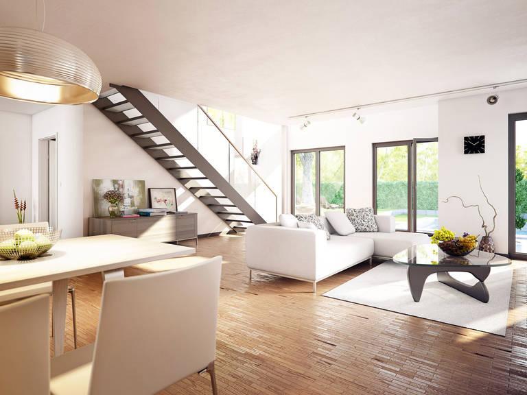 Innenansicht Wohnzimmer Concept-M Aktionshaus 100 V9 – Bungalow von Bien Zenker