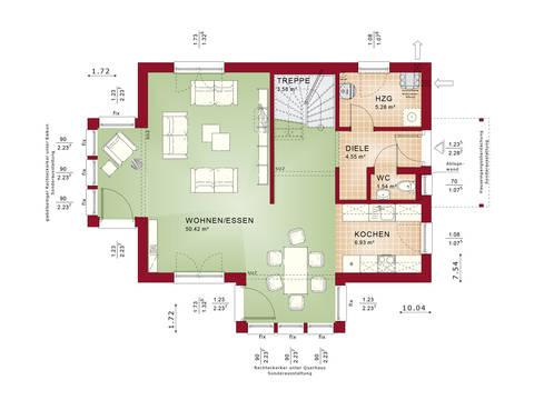 Evolution 122 V4 – Einfamilienhaus Grundriss EG