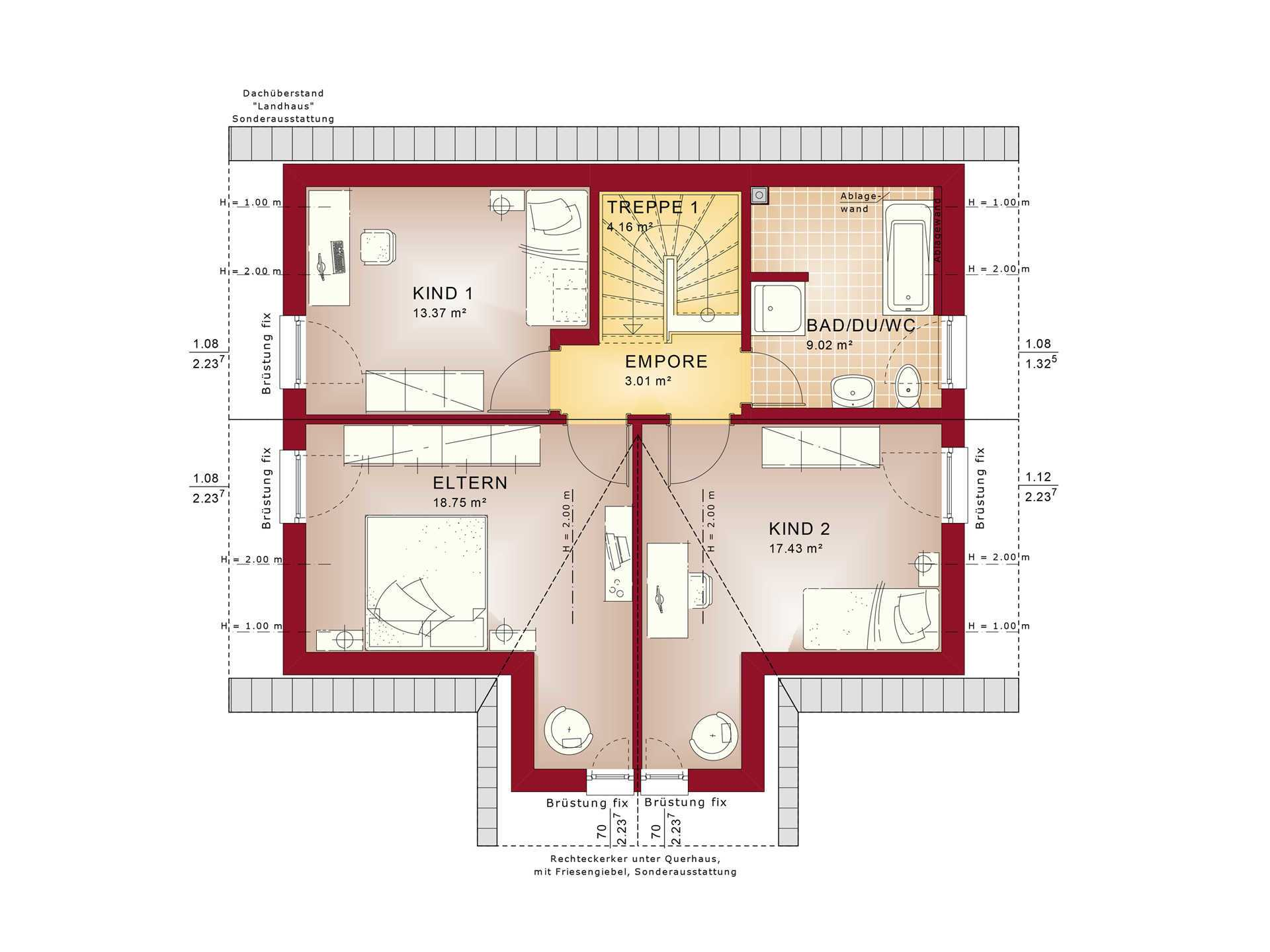 Evolution 122 V8 – Einfamilienhaus Grundriss DG