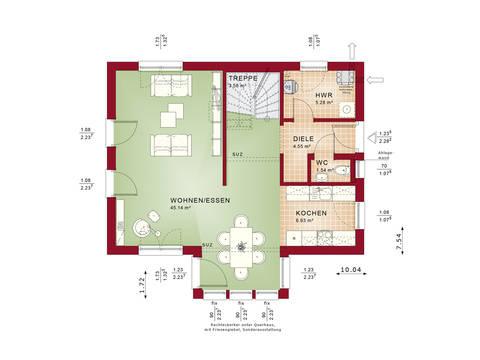 Evolution 122 V8 – Einfamilienhaus Grundriss EG