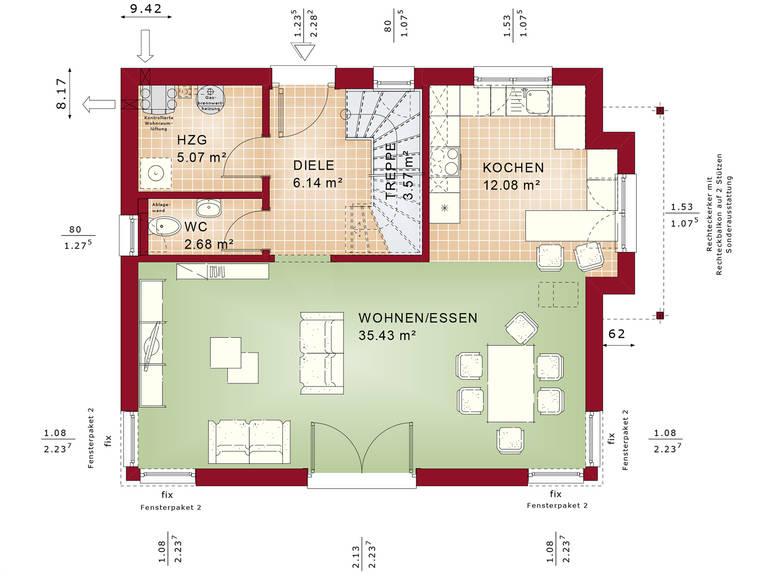 Bien-Zenker Evolution 125 V2 Einfamilienhaus Grundriss EG
