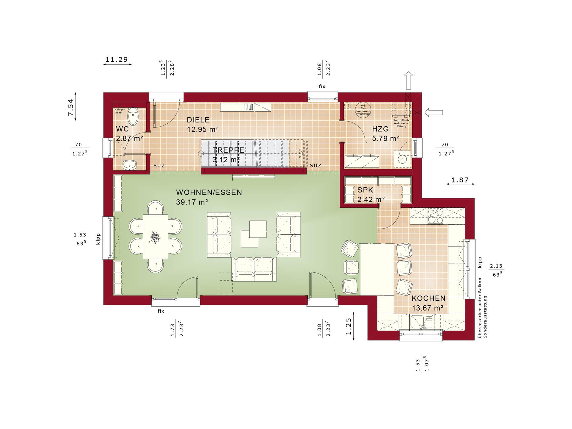 Evolution 135 V7 – Einfamilienhaus Grundriss EG