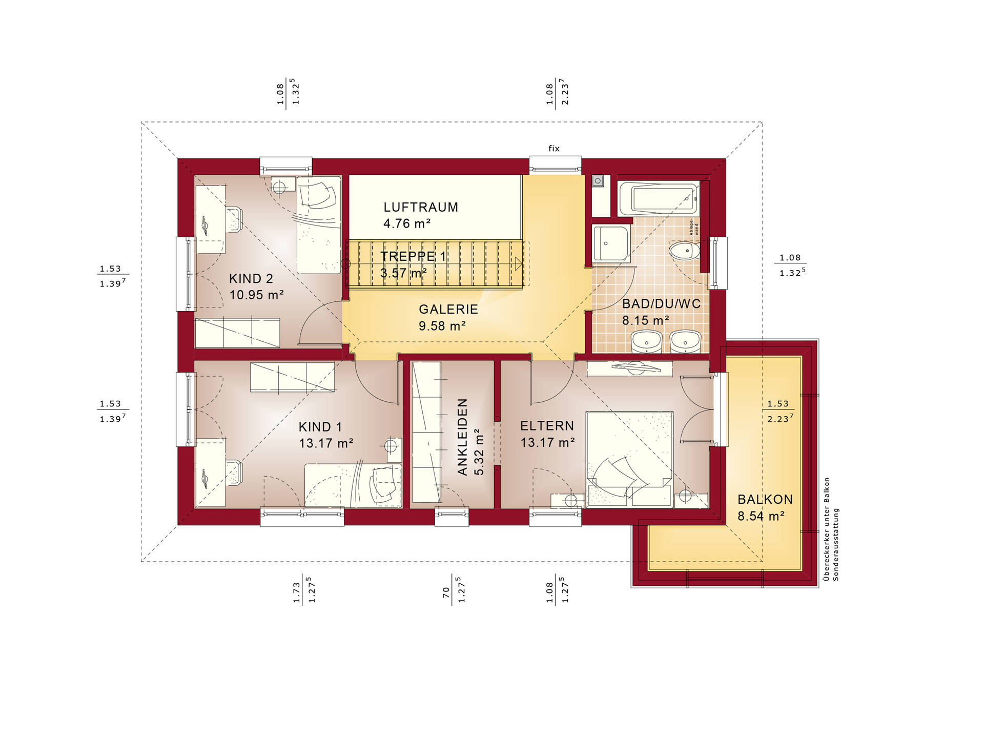 Evolution 135 V7 – Einfamilienhaus Grundriss OG