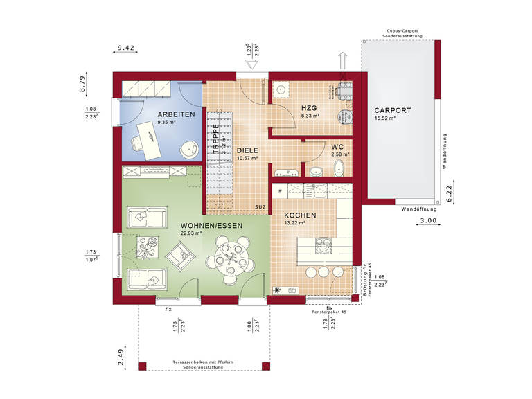 Evolution 136 V8 – Einfamilienhaus Grundriss EG