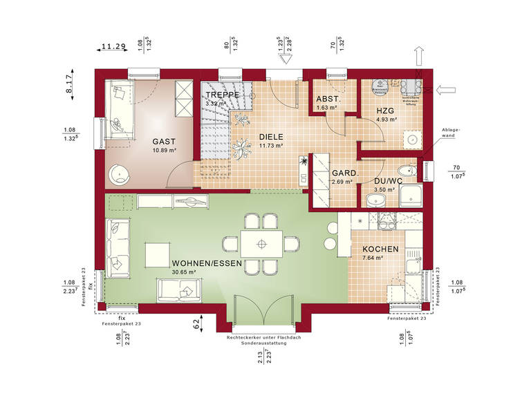 Evolution 148 V9 – Einfamilienhaus Grundriss EG