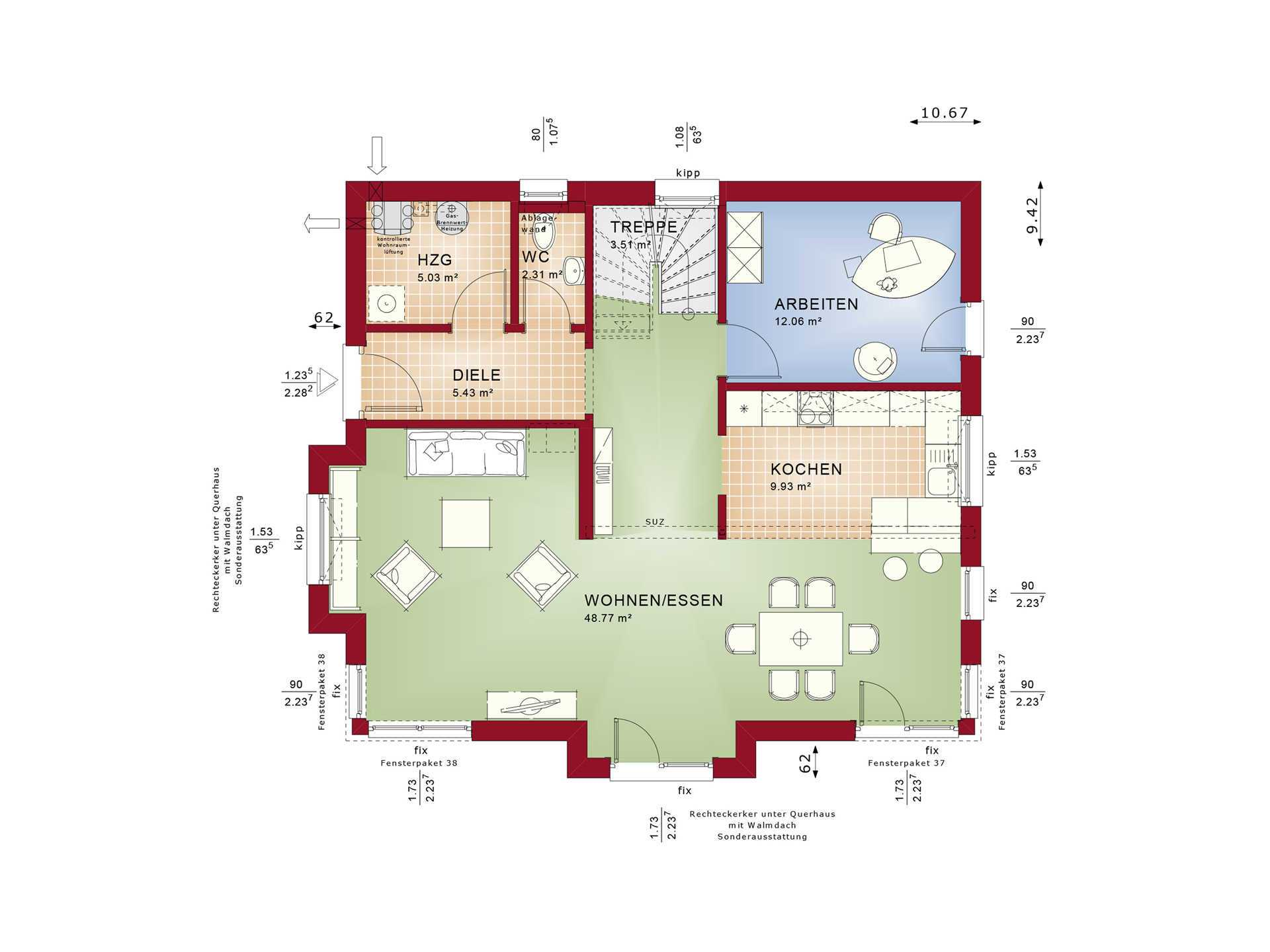 Evolution 165 V3 - Einfamilienhaus Grundriss EG