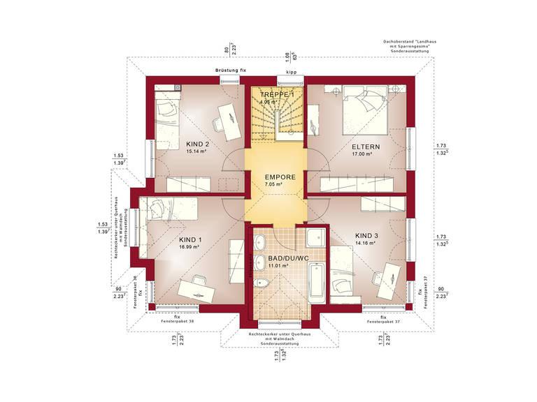 Evolution 165 V3 - Einfamilienhaus Grundriss OG
