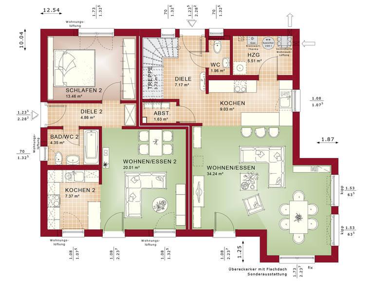 Zweifamilienhaus evolution 207 v3 bien zenker for Zweifamilienhaus grundriss
