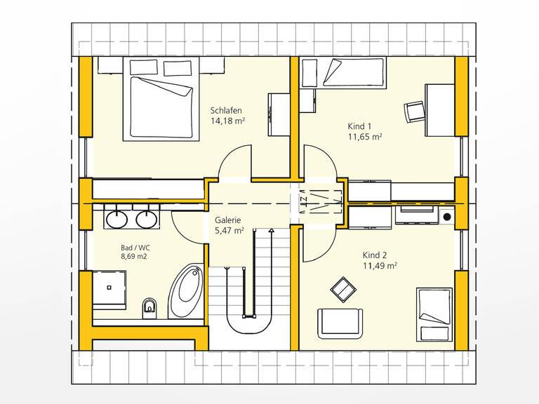 Obergeschoss Kompakthaus 114