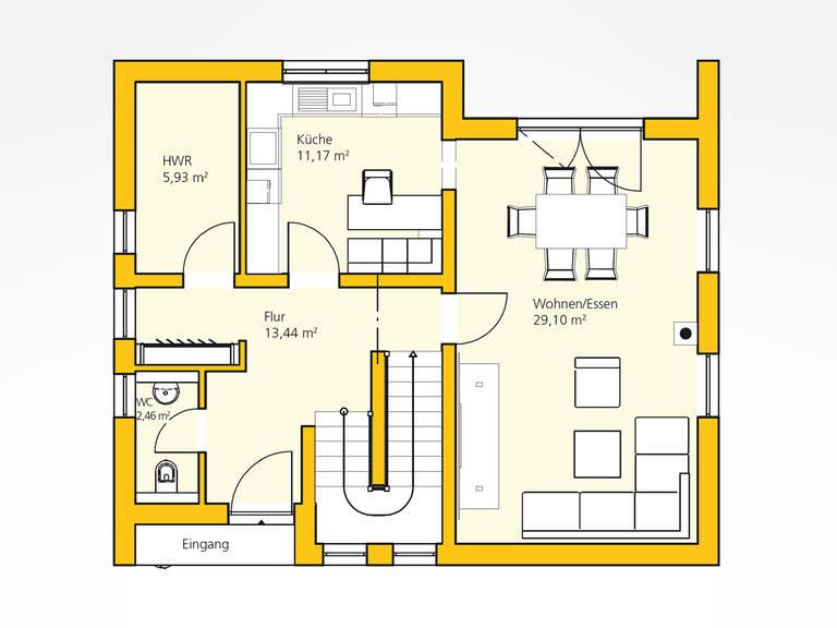 Erdgeschoss Kompakthaus 114