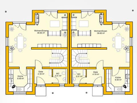 Erdgeschoss Beispielhaus 15.0