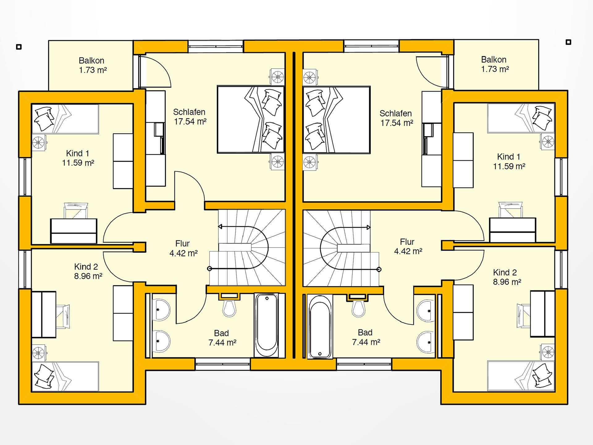 Obergeschoss Beispielhaus 15.0