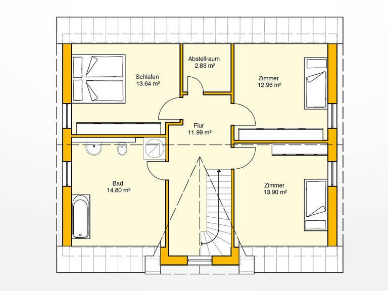 Obergeschoss Beispielhaus 28.0