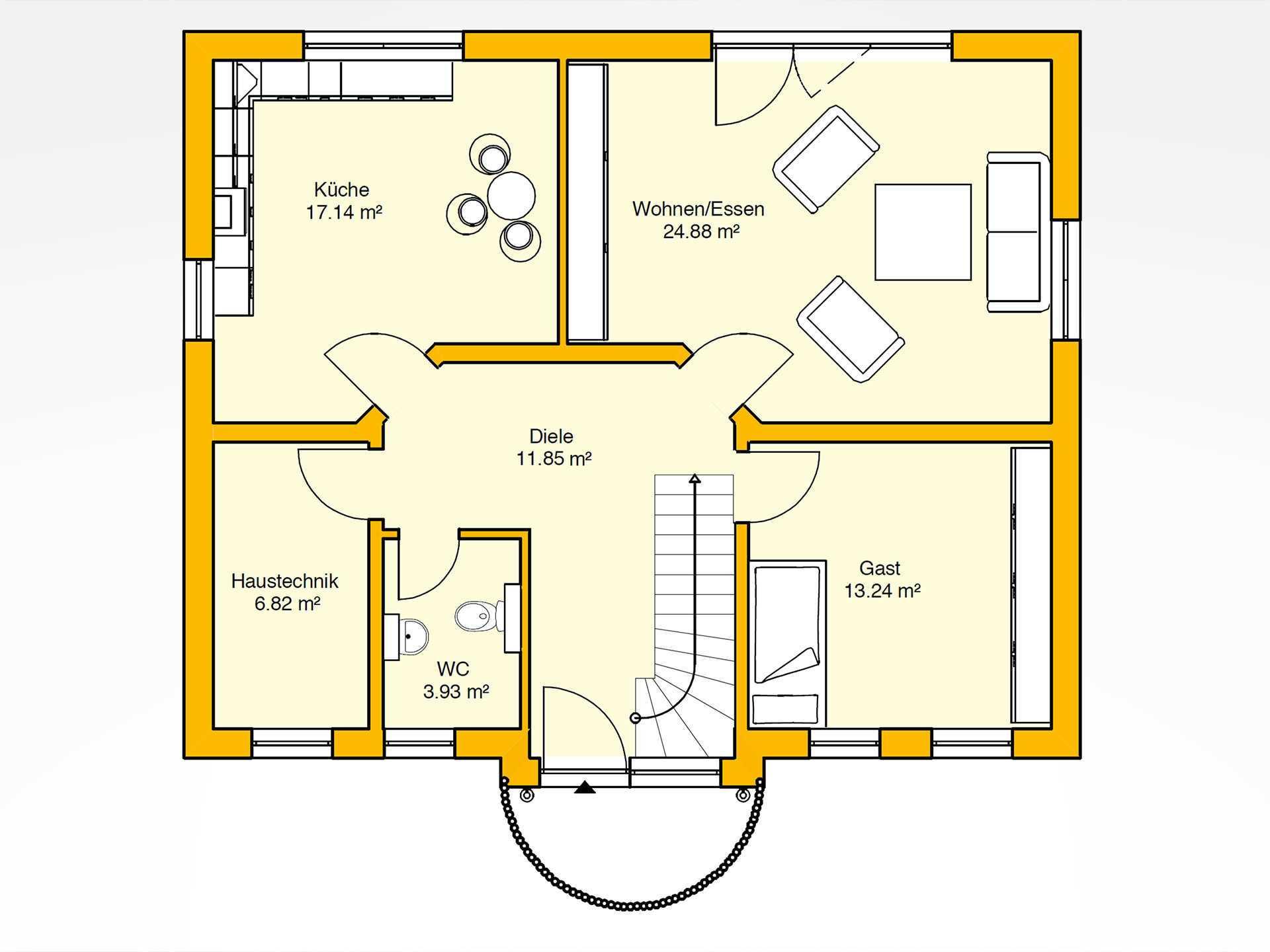 Erdgeschoss Beispielhaus 28.0