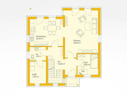 Einfamilienhaus 142 - Ytong Bausatzhaus Grundriss EG
