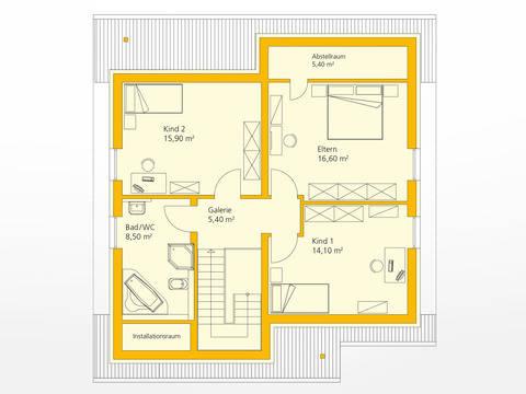Einfamilienhaus 142 - Ytong Bausatzhaus Grundriss OG