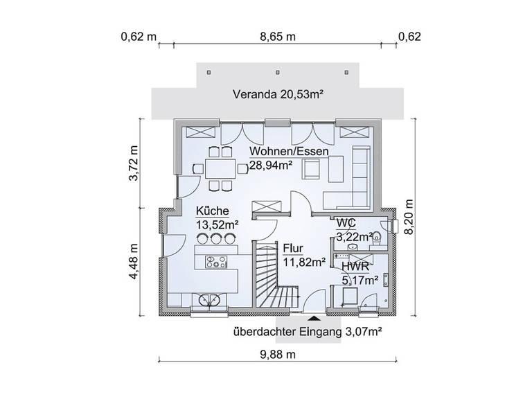 Grundriss EG SH 122 D Variante B von ScanHaus