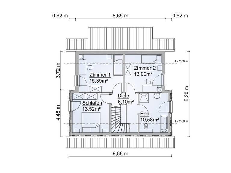 Grundriss OG SH 122 D Variante B von ScanHaus