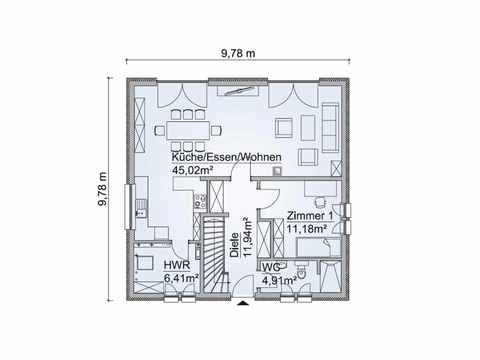 Stadtvilla SH 155 S Variante B Grundriss EG