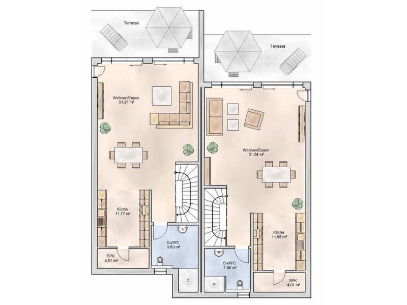 Grundriss Erdgeschoss TYP DHH 215