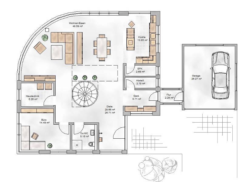 Grundriss Erdgeschoss TYP Villa 300
