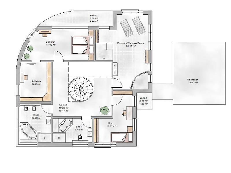 Grundirss Obergeschoss TYP Villa 300