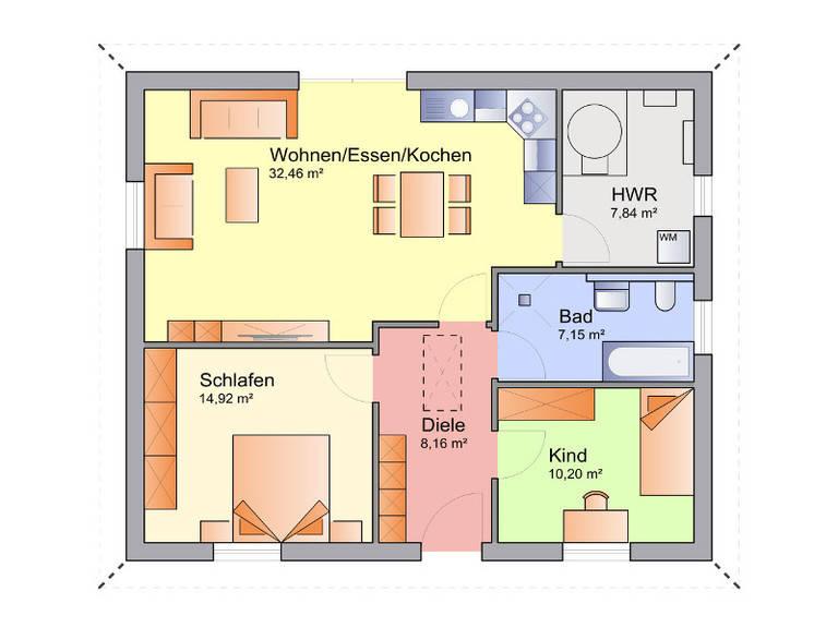 Grundriss Erdgeschoss Bungalow 02