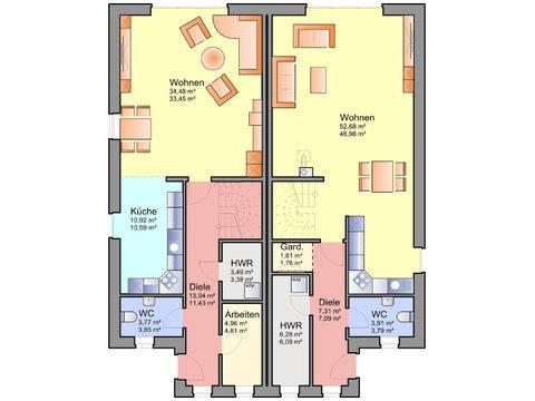 Grundriss Erdgeschoss Doppelhaus 11