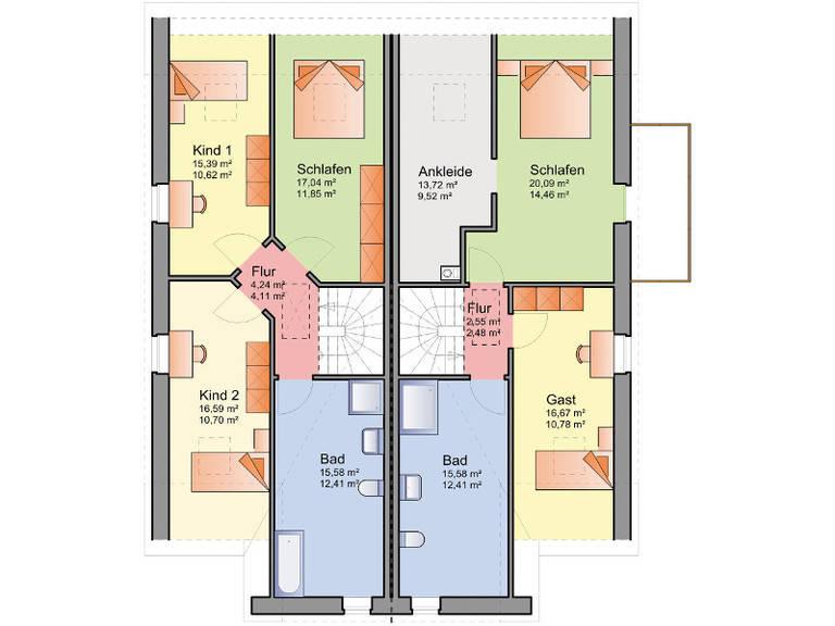 Grundriss Obergeschoss Doppelhaus 11