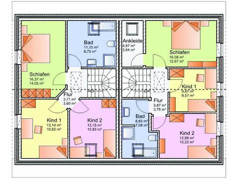 Grundriss Obergeschoss Doppelhaus 01