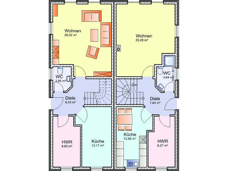 Grundriss Erdgeschoss Doppelhaus-Stadtvilla