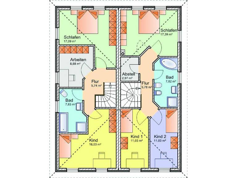 Grundriss Obergeschoss Doppelhaus-Stadtvilla