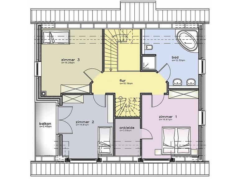 Grundriss Dachgeschoss Einfamilienhaus 47
